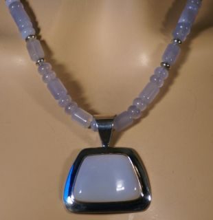Jay King Mine Finds Blue Chalcedony Necklace Pendant Sterling Silver
