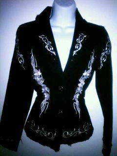 Lucy Paris Black White Detail Rhinestone Jean Jacket S