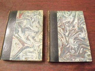 OEUVRES DE JEAN RACINE ANTIQUE FRENCH BOOK 1760 MARBLED BOARDS VOLUMES