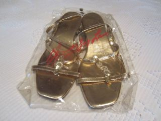 NIB KENNETH JAY LANE for Van Raalt Gold Tone Embellished Sandals Size