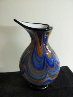 Jean Claude Novaro Glass Vase Sculpture Hand Blown