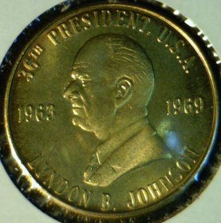Lyndon B Johnson Mint Commemorative Bronze Medal Token Coin