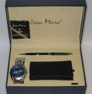 New Jean Marc Blue Mens Watch Pen Key Wallet Set