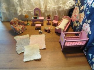 RARE Antique Dollhouse Furniture Early 1900s Childs Nursery Bed Room