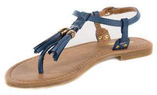Jayma Soda Tassel Ankle Strap Sandals Dark Blue Leatherette