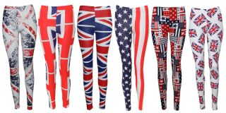 Star and Stripe Americal Flag Print Legging Union Jeck Trouser