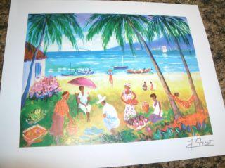 Jean Claude Picot La Plage de la Saline Lithograph Tropical Beach