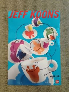 Jeff Koons Signed and Dated Illy Poster with Drawing
