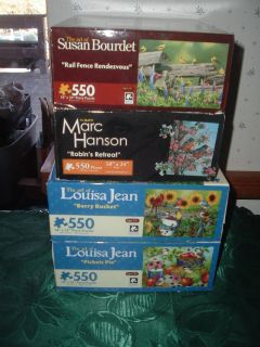 EUC JIGSAW PUZZLES BIRDS FLOWERS NATURE 550 LOUISA JEAN HANSON BOURDET