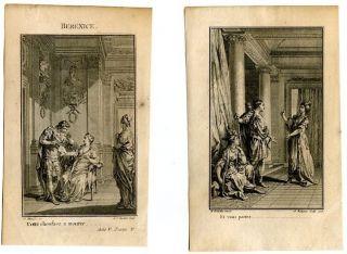 Rococo 18th c. antique engravings prints JEAN RACINE Berenice print