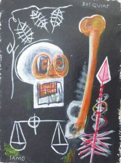 Acrylic Grafitti Painting Signed Jean Michel Basquiat