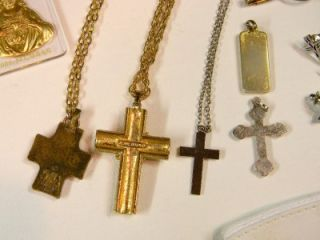 VINTAGE RELIGIOUS MENS JEWELRY,JEANE DIXON CROSS,LUTHERAN GOLD MEDAL