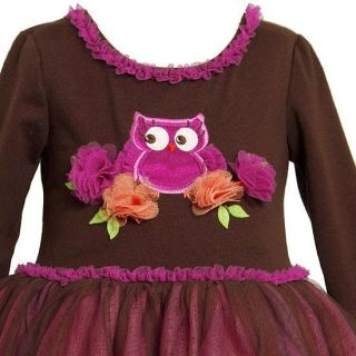 New Girls Bonnie Jean Sz 12M Brown Pink Owl Tutu Outfit Dress Clothes