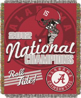 ALABAMA CRIMSON TIDE THROW BLANKET TAPESTRY **2012 NATIONAL CHAMPIONS