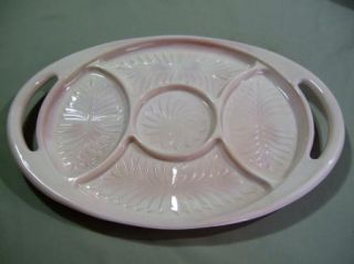 VGC Jeannette Glass Company 1950s 60s Shell Pink 5 Part Tray 2