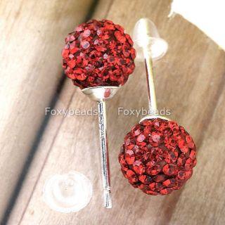 925 Sterling Silver Czech Crystal Ball Earring Ear Stud
