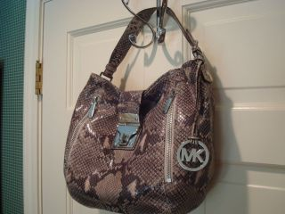 Michael Kors Jena Shoulder Bag Dark Sand Python Leather Handbag Purse