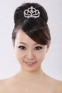 Silver Plated Crystal Heart Round Hair Veil Tiara Bride Crown