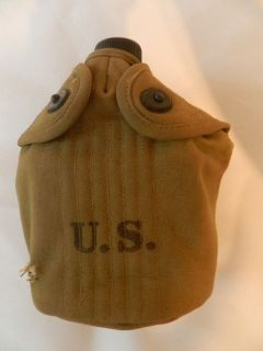 WWII / WW2 US Army 1943 Canteen Set Cover Canteen and Cup JEFF. Q.M.D