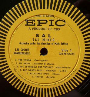 Sal Mineo Epic DG Mark Jeffrey s T James Dean LP VG Vinyl Record Album