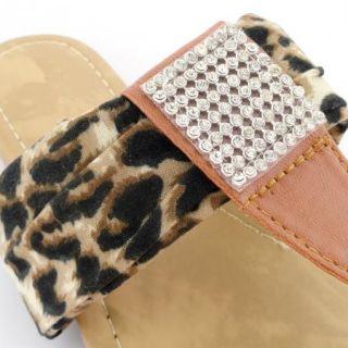Womens Leopard Print Flat Thong Sandals W/ Rhinestones Brown Sz 5 10