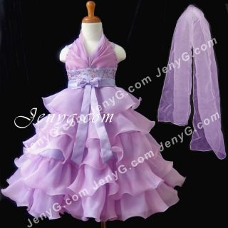 SB01 Flower Girl Pageant Formal Communions Gowns Dresses Purple 2 10