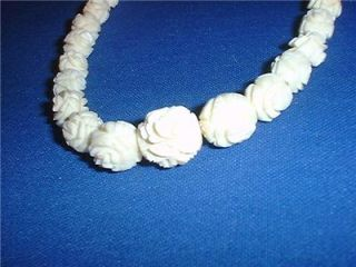 Vintage Carved Ox Bone Rose Necklace Dangle Earrings Faux Ivory