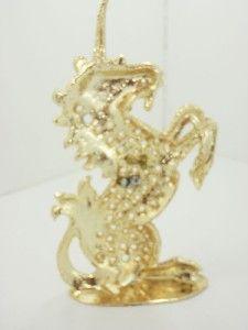 Vtg C Torino Unicorn Jewelry Earrings Holder Gold
