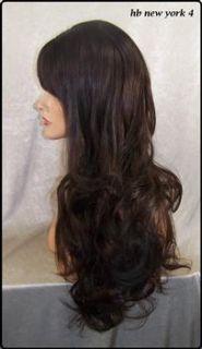 Human Hair Blend Dark Brown Wig Bangs Skin Top Heat OK Iron Safe