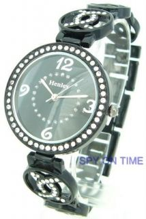 HENLEY LADIES ROUND DIAL WATCH WITH BLACK BRACELET & 1 SELF ADJUSTABLE