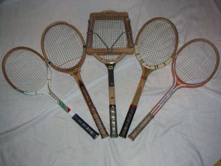 Old Vintage Wood Tennis Racket Dunlop Slazenger Jelinek Rosie