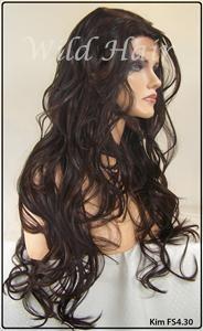 Brown Auburn Mix Lace Front Wig Heat OK Iron Safe OK Kanekalon KIM430