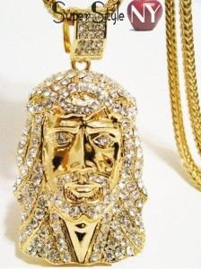 Finish Hip Hop Iced Out Jesus Piece Pendant 36 Franco Chain