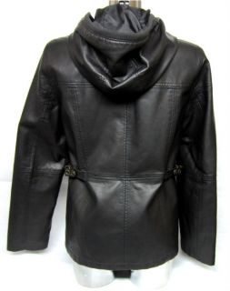 New Womens Esprit Leather Hood Jacket Size M Brown