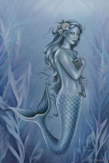 Jessica Galbreth Print 5x7 Fairy Faery The Key Blue Mermaid Skeleton