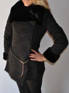 New Womens Jennifer Lopez JLO Faux Suede Faux Shearling Faux Fur Coat