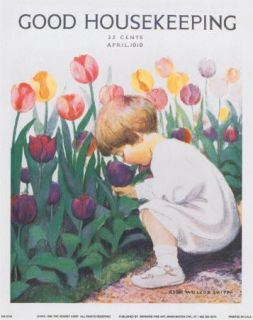 Girl in Tulip Garden Jessie Wilcox Smith Canvas Art