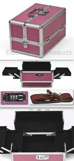 Cosmetic Jewelry Case Combination Lock Strap Aluminum Pink Box