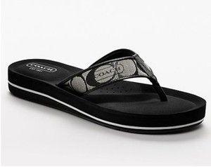 Coach Jolie Womens Black White Signature C Sandals Authentic New in