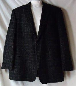 Mens Syd Jerome Black Plaid Wool Blend Italian Sport Jacket Size 44L