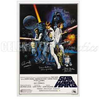 Star Wars Cast Signed A New Hope 27x40 Poster B Harrison Ford Hamill