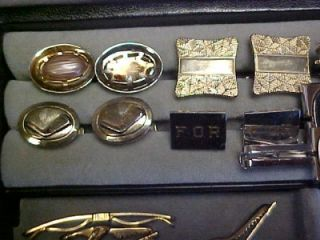 LEATHER MENS JEWELRY BOX W CUFFLINKS TIE BARS CLASPS HICKOK EMMONS