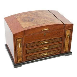 Large Wooden Jewelry Box Curved Chest Key Lock Luxury Storage