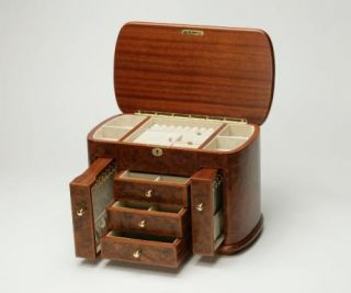 New Large Burl Wood Wooden Jewelry Box Chest Case
