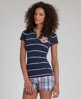 New Womens SUPERDRY Jersey Stripe Polo T Shirt