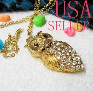 GB Cute Crystal Jewelry Owl Pendant USB Flash Drive Memory