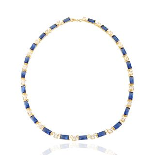 Sapphire Yellow Gold Plated Pendant Necklace Neck Chain Jewelry
