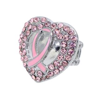 Breast Cancer Awareness Jewelry Pink Crystal Heart Stretch Ring