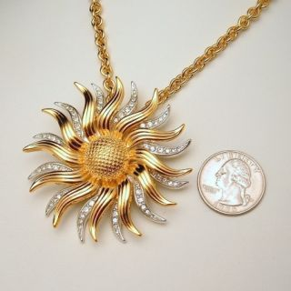 Necklace Brooch Pin Rhinestone Sunflower Pendant Convertible
