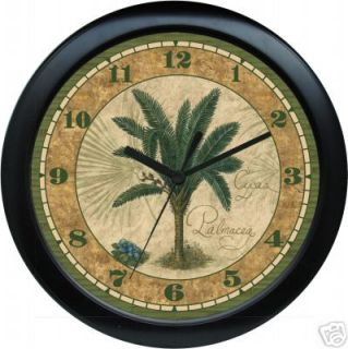 Personalized Palm Tree Tropical Black Wall Clock